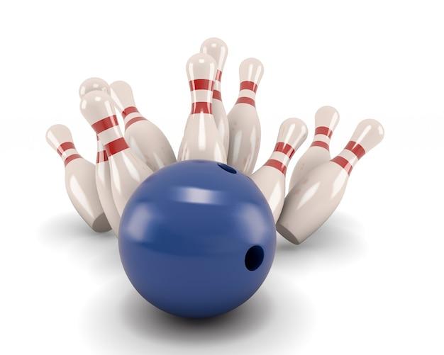 La palla da bowling si schianta contro i perni isolare l'illustrazione 3d