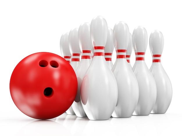 Palla da bowling e birilli isolati