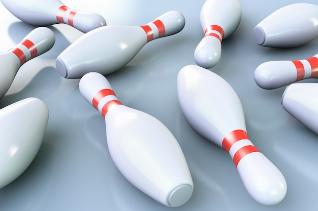 Birilli da bowling sul pavimento.