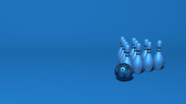 I birilli da bowling reggono una piramide. elegante scena orizzontale astratta minimale, posto per il testo. rendering 3d