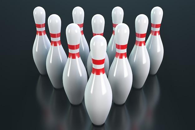 Triangolo di birilli da bowling.