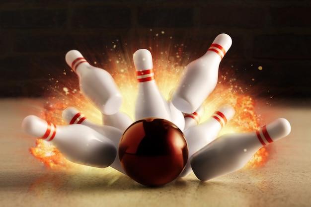 Colpo di bowling con esplosione di fuoco.