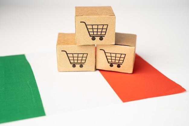 Scatola con logo del carrello e bandiera dell'italia, import export shopping online o e-commerce servizio di consegna finanza negozio spedizione prodotto, commercio, concetto fornitore.