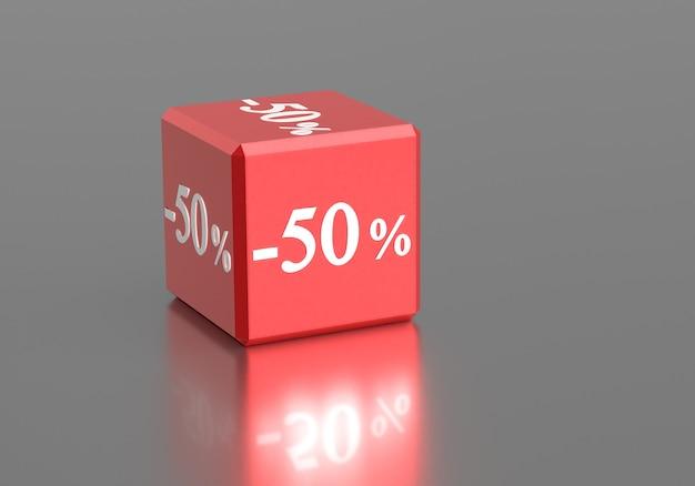 Scatola con parole 50 per cento di sconto sulla vendita di sconto