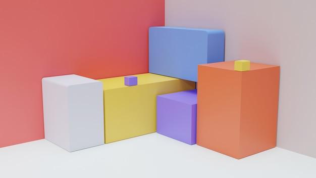 Forme di scatole con vari colori per la vetrina del prodotto di sfondo