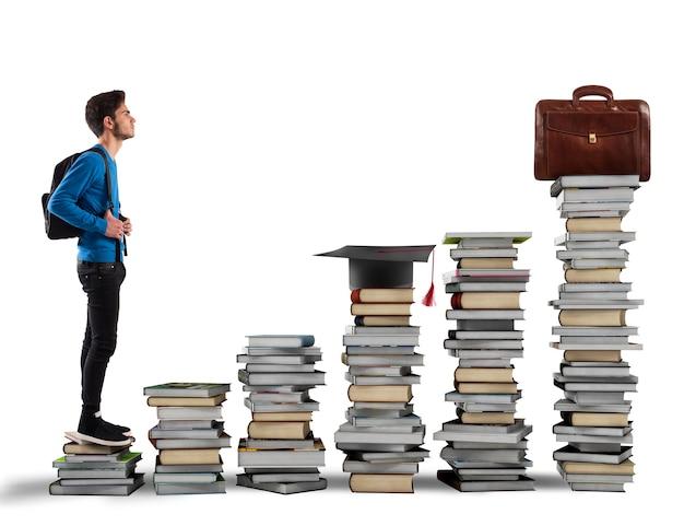 Ragazzo che sale le scale fatte di libri