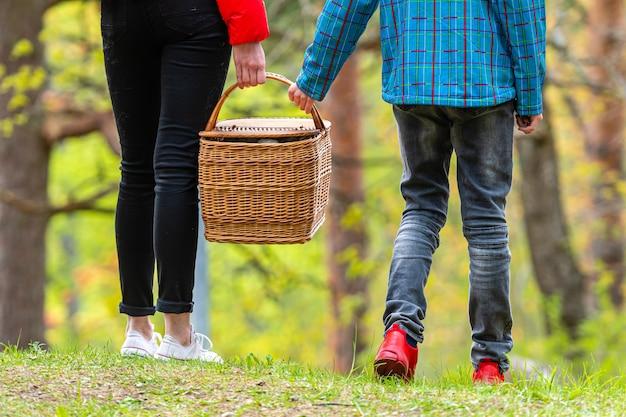 Un ragazzo e una ragazza camminano sul picnic nel parco, tenendo in mano un cesto di cibo