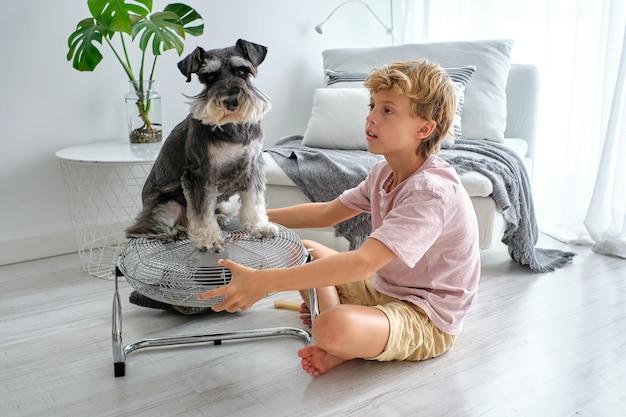 Ragazzo che gioca con il cane sul ventaglio