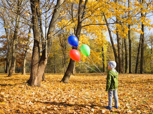 Il ragazzo cammina nel parco con palloncini