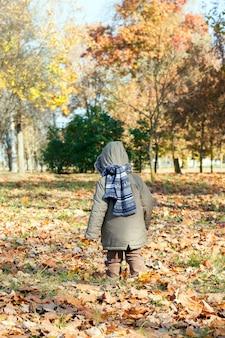 Il ragazzo cammina nel parco
