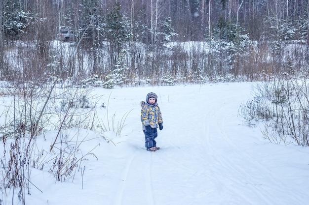 Un ragazzo in abiti caldi si trova nel mezzo di una foresta invernale