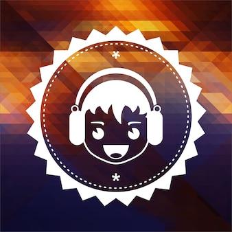 Ragazzo con l'icona delle cuffie. design dell'etichetta retrò. sfondo hipster fatto di triangoli, effetto di flusso di colore.