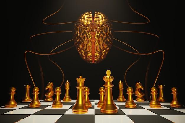 Eserciti di scacchi del cervello sulla scacchiera di legno. posto vuoto per il testo. battaglia di scacchi, vittoria di scacchi, concetto di scacchi, illustrazione 3d