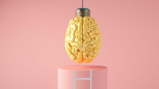 Lampada del cervello che appende con la rappresentazione 3d di concetto della scala