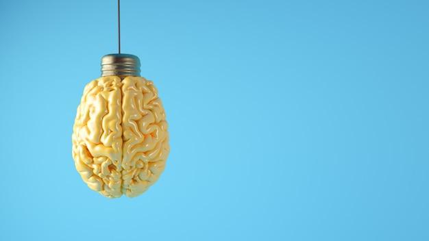 Cervello sulla rappresentazione 3d di concetto della lampadina