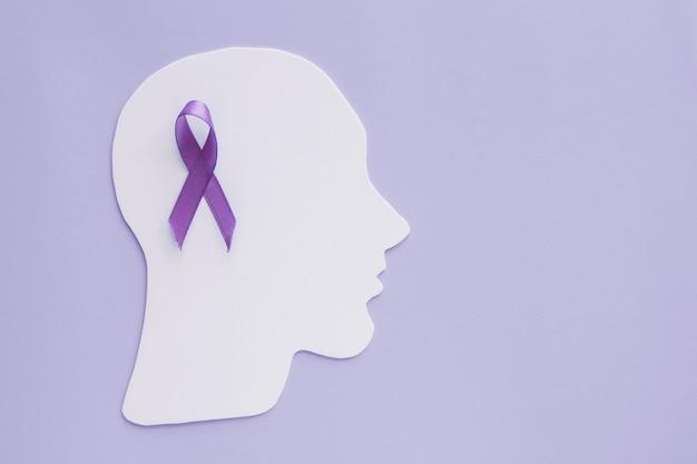 Ritaglio di carta cerebrale con nastro viola su sfondo viola, consapevolezza di epilessia e alzheimer, disturbo convulsivo, concetto di salute mentale