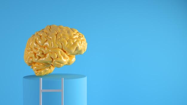 Cervello sulla rappresentazione 3d di concetto della piattaforma