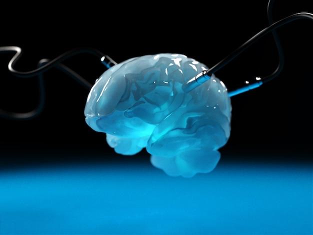Cervello con diversi dachik collegati ad esso in trasmissione