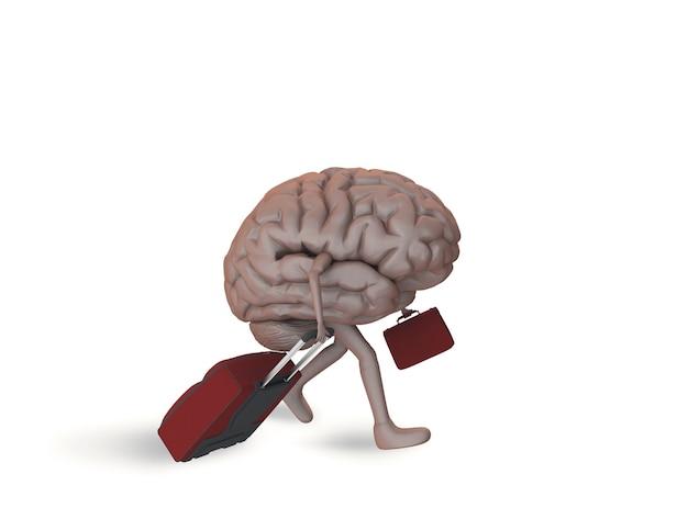 Cervello con le gambe che camminano con due bagagli