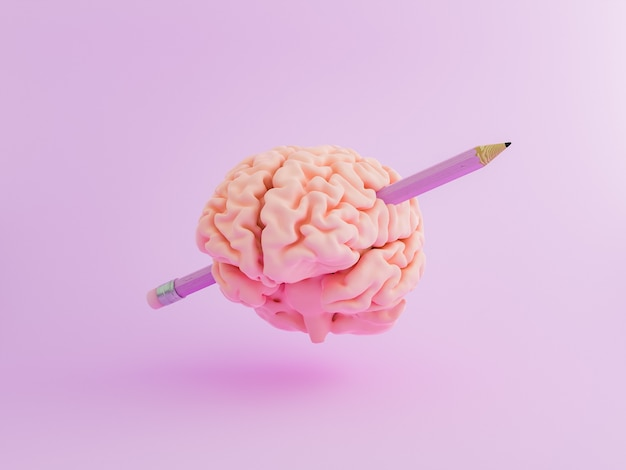 Cervello con una matita attraverso