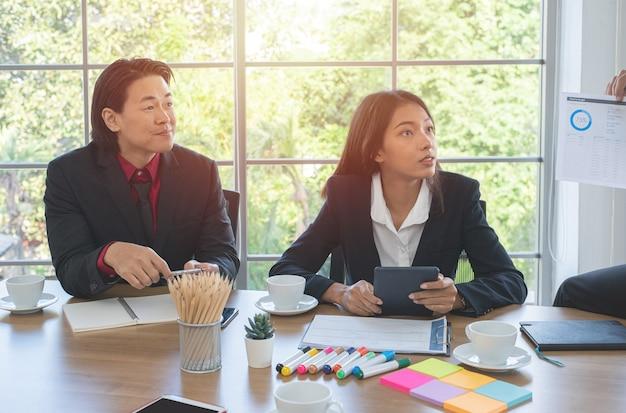 Brainstorm con i colleghi di lavoro. la donna asiatica di affari tiene il tablet con il suo team aziendale in ufficio.