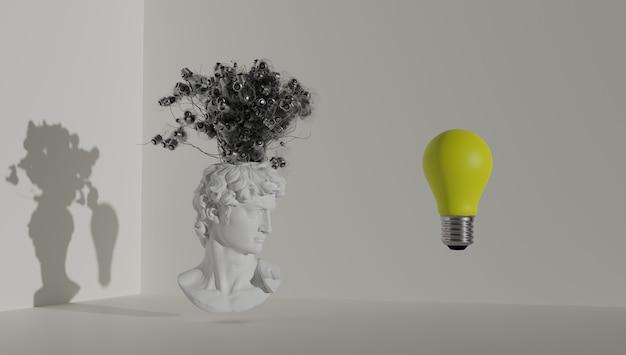 Concetto di brainstorming davids testa che germogliano idee sotto forma di lampadine d rendering