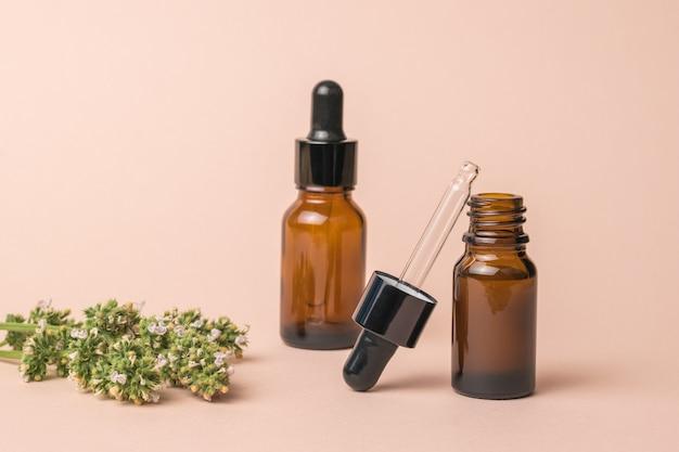 Un ramo di erbe medicinali e fiale con contagocce su fondo beige.