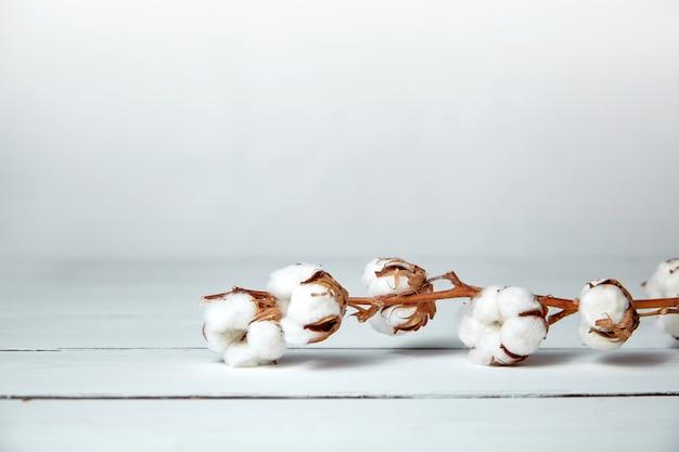 Un ramo di fiori di cotone morbido è sdraiato su un tavolo di legno bianco con spazio di copia
