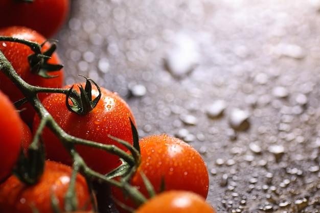 Ramo con pomodorini freschi. pomodori rossi maturi. pomodori e pasta alle spezie