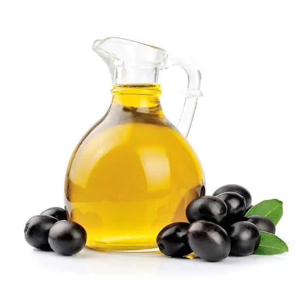 Ramo con olive e una bottiglia di olio d'oliva
