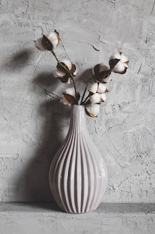 Rami di cotone in un vaso sullo sfondo
