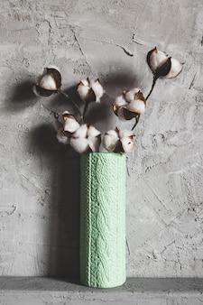 Rami di cotone in un vaso su uno sfondo