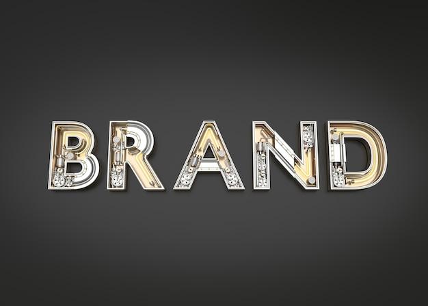 Parola di marca fatta dall'alfabeto meccanico. illustrazione 3d