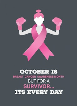 Vettore di consapevolezza del cancro al seno con la ragazza combattente