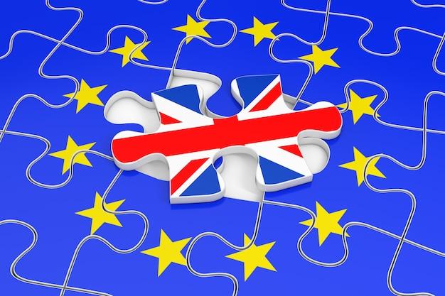 Concetto brexit. puzzle della bandiera dell'unione europea con un pezzo di puzzle con la bandiera della gran bretagna al di fuori del primo piano estremo. rendering 3d