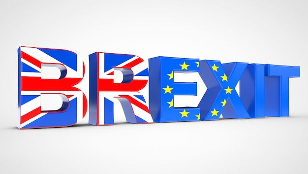 Referendum brexit concept sign come bandiere del regno unito e dell'ue su sfondo bianco. rendering 3d