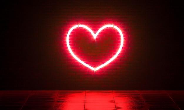 Sfondo di mattoni come concetto al neon dell'icona con il cuore
