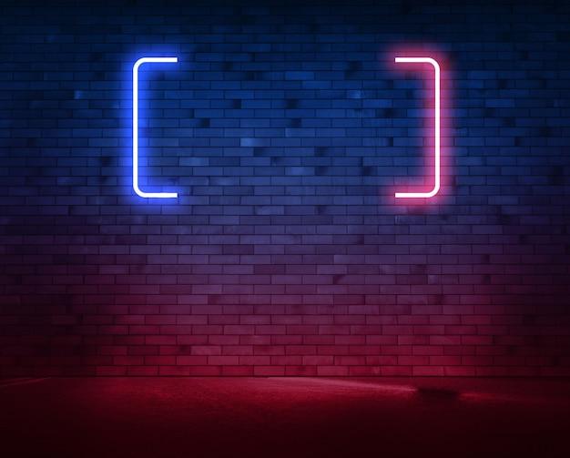 Muro di mattoni al neon con tubo e asfalto bagnato. sfondo con copia spazio