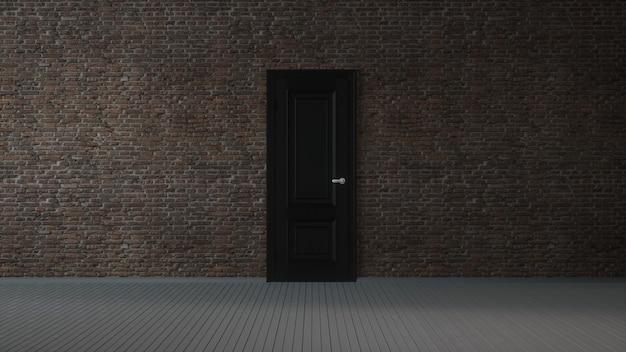 Muro di mattoni, porta nera e pavimento in legno, astratto sfondo interno vuoto. illustrazione 3d.