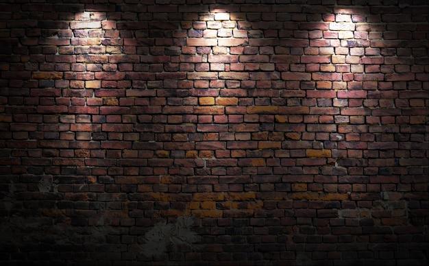 Muro di mattoni con luci