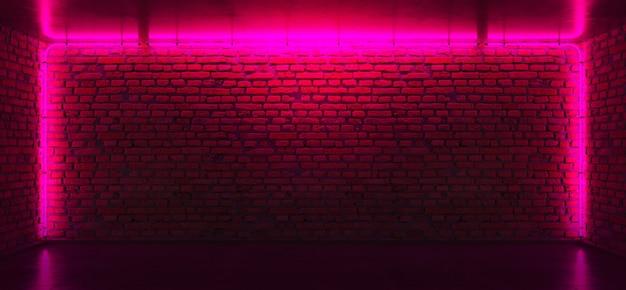 Muro di mattoni con luci al neon rosa