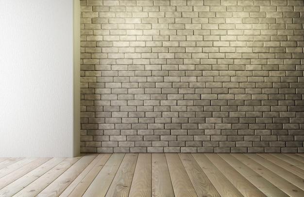 Muro di mattoni con pavimento in legno. design della camera in stile loft. muro di mattoni vuoto per il posizionamento del tuo design. rendering 3d.