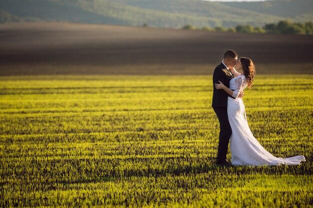 Sposa tra le braccia dello sposo sullo sfondo della natura