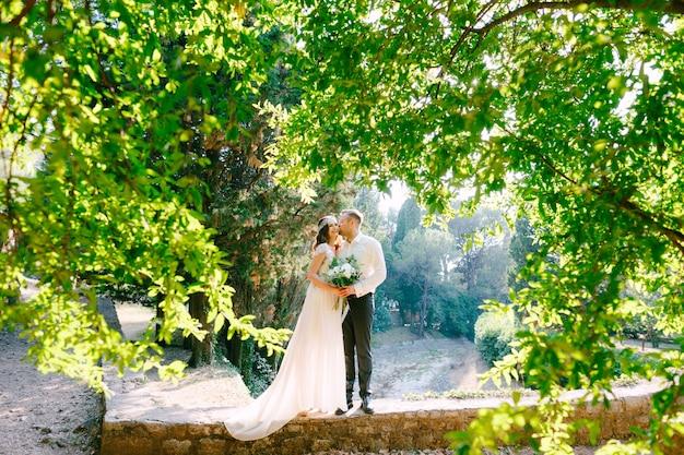La sposa e lo sposo si stanno abbracciando tra bellissimi rami di alberi rigogliosi nella giornata di sole nel parco