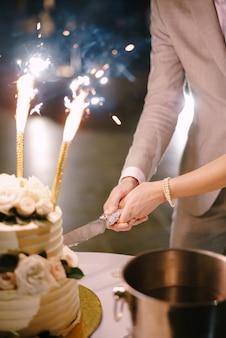 La sposa e lo sposo tagliano il primo piano della torta nuziale
