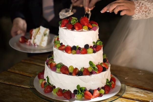 Sposi al ricevimento di nozze taglio della torta nuziale