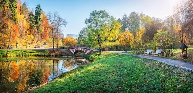 Il ponte sullo stagno in tsaritsyno a mosca e alberi colorati d'autunno