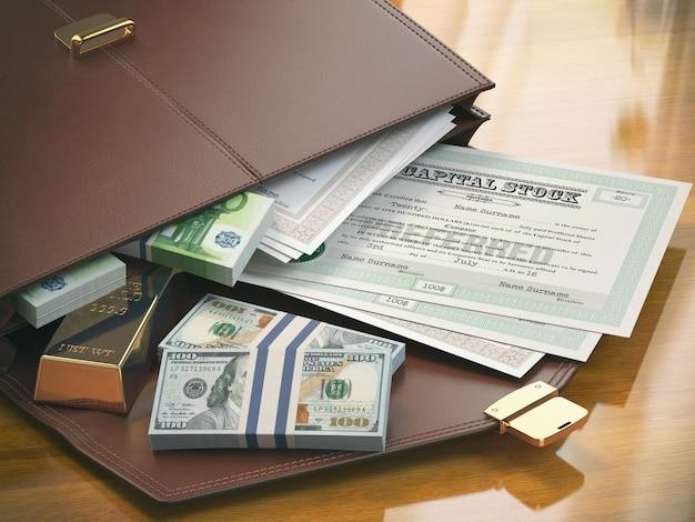 Valigetta con titoli di capitale obbligazioni oro e denaro 3d illustrazione