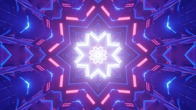 Fondo astratto luminoso dell'illustrazione 3d con illuminazione al neon geometrica e stella caleidoscopica nei colori rosa e viola