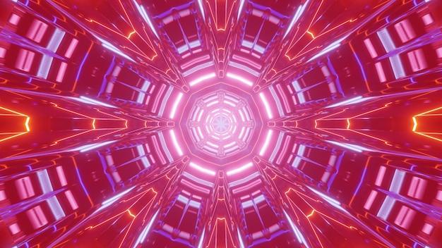 Illustrazione 3d luminosa dell'ornamento al neon astratto che emette luce rossa e forma un tunnel rotondo